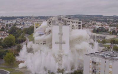 Démolition à l'explosif de la tour Albret
